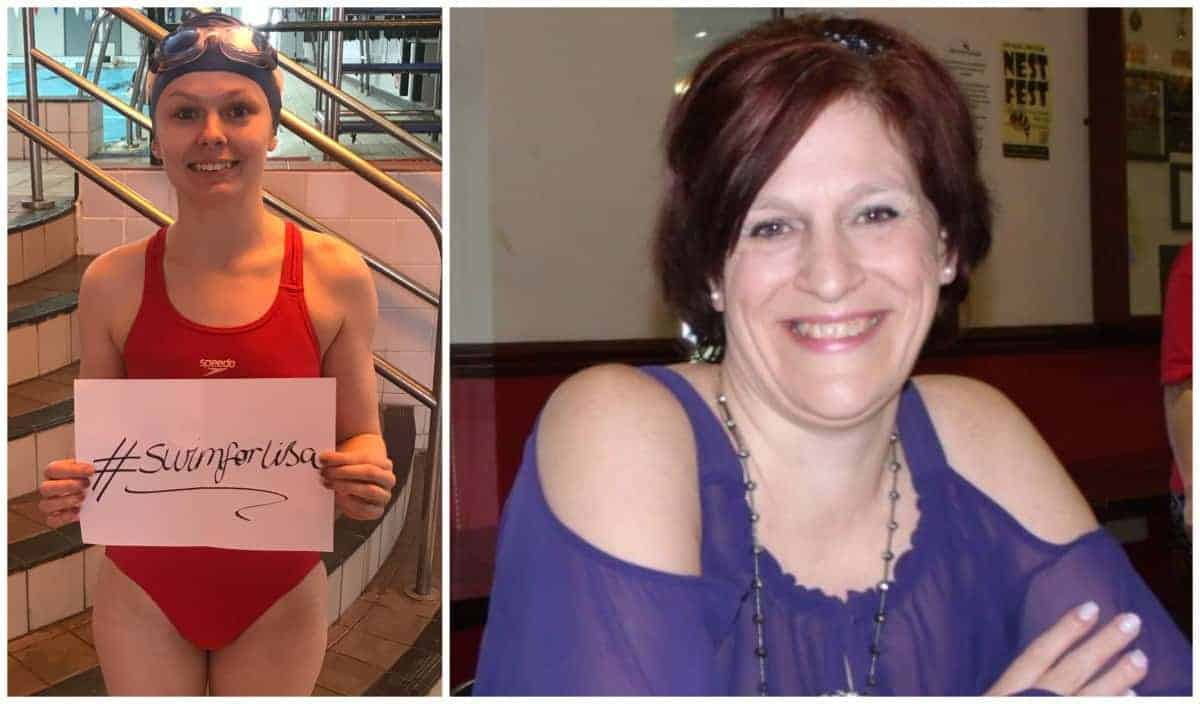 Hannah Martin has swum an amazing 52 miles in memory of Lisa Osborne (right).